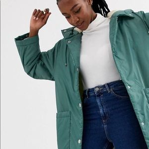 ASOS Design Fleece Lined Maxi Raincoat US12
